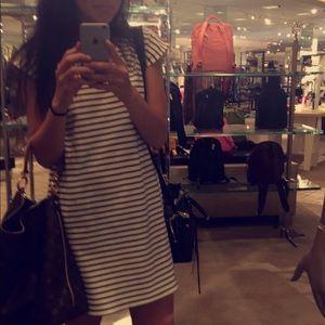 Madewell Striped V Neck Dress XS